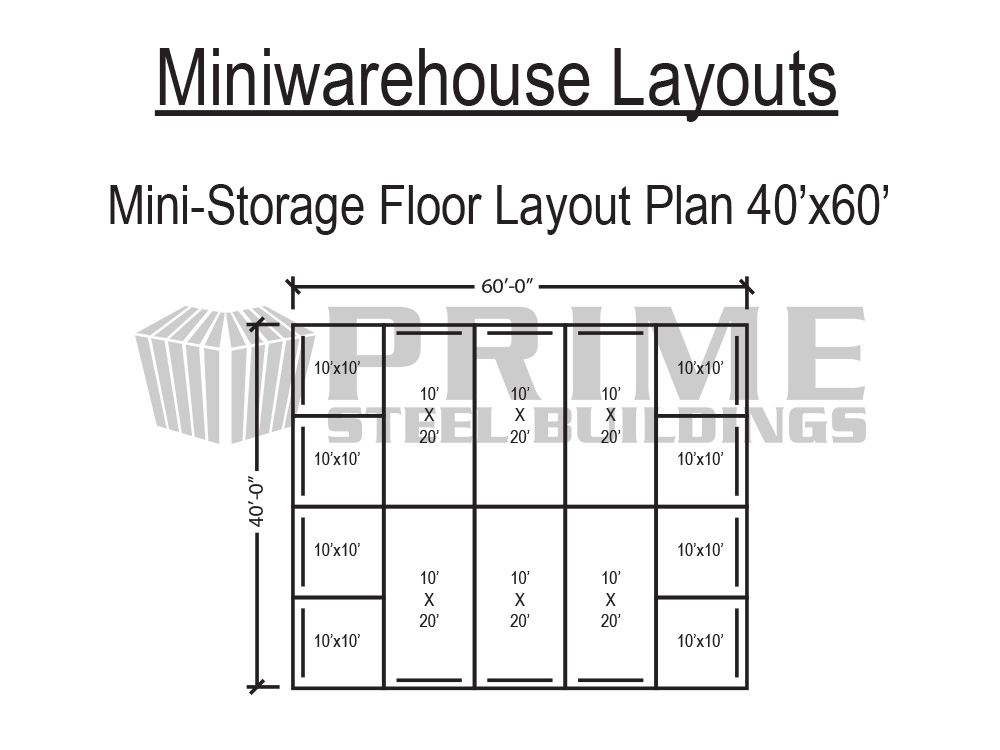 Prime steel buildings mini warehouse self storage buildings for Metal building layouts